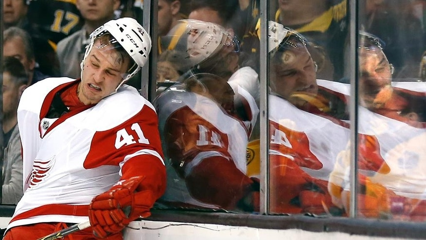 Detroit Red Wings' Luke Glendening gets knocked into the glass during the first period of Game 2 of a first-round NHL hockey playoff series against the Boston Bruins in Boston Sunday, April 20, 2014. (AP Photo/Winslow Townson)