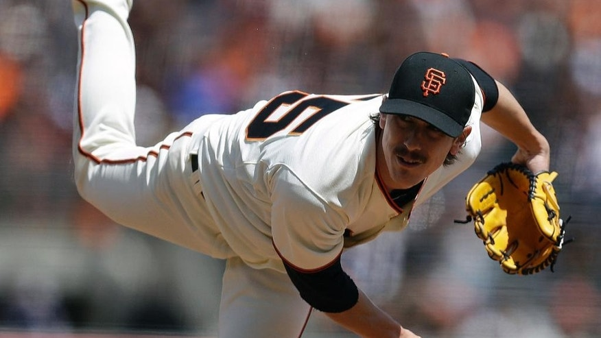 San Francisco Giants' Tim Lincecum works against the Cleveland Indians in the first inning of a baseball game on Saturday, April 26, 2014, in San Francisco. (AP Photo/Ben Margot)