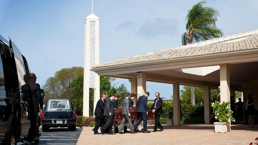 Pallbearers carry a casket for former NBA coach and TV analyst Jack Ramsay for a funeral service at Saint John the Evangelist Catholic Church in Naples, Fla., Thursday, May 1, 2014. Ramsay, a Hall of Fame coach who led the Portland Trail Blazers to the 1977 NBA championship before he became one of the league's most respected broadcasters, has died on April 28, following a long battle with cancer. He was 89. (AP Photo/Naples Daily News, Carolina Hidalgo) FORT MYERS OUT, TV OUT, MAGS OUT