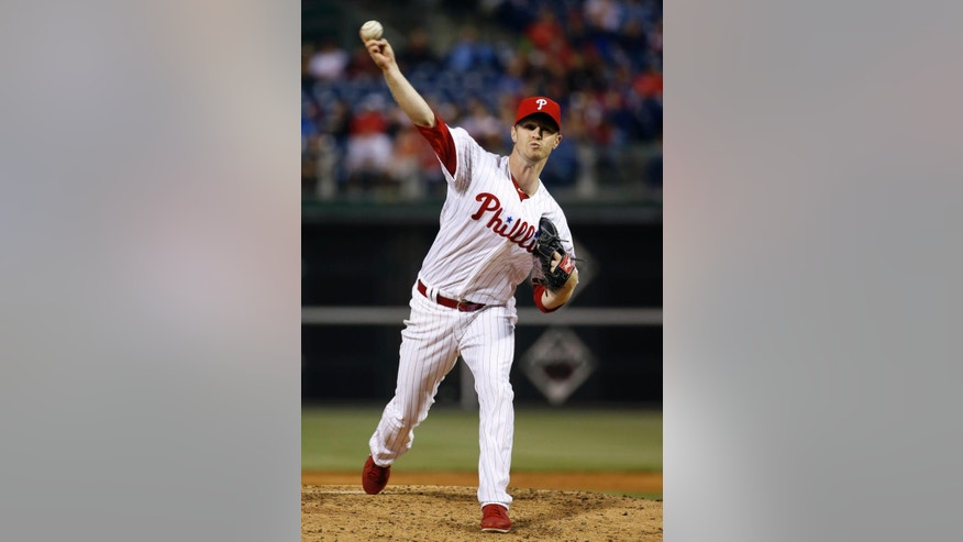 Philadelphia Phillies' Kyle Kendrick pitches during the third inning of an interleague baseball game against the Toronto Blue Jays, Monday, May 5, 2014, in Philadelphia. (AP Photo/Matt Slocum)