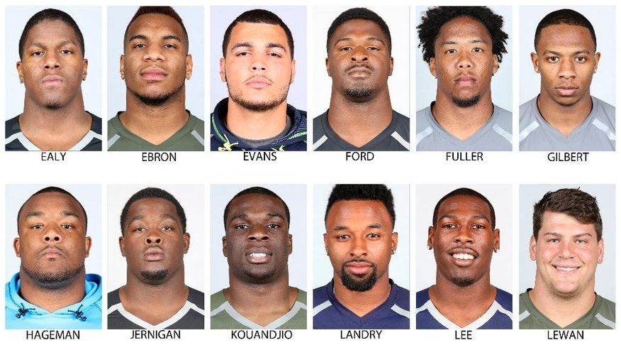 FILE - In these photos provided by the NFL, taken at the NFL Combine in Indianapolis in April  2014, NFL Draft prospects are shown. Top row from left are Kony Ealy, Missouri; Eric Ebron, North Carolina; Mike Evans, Texas A&M; Dee Ford, Auburn; Kyle Fuller, Virginia Tech and Justin Gilbert, Oklahoma State . Bottom from left are: Ra'Shese Hageman, Minnesota; Timmy Jernigan, Florida State; Cyrus Kouandjio, Alabama; Jarvis Landry, LSU; Marquise Lee, USC, and Taylor Lewan, Michigan.  (AP Photo/NFL)  NO SALES