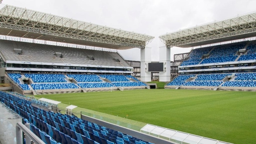 This April 23, 2014 photo released by Portal da Copa, shows an interior view of the Arena Pantanal in Cuiaba, Brazil. Brazil had seven years to get ready for the World Cup, but it enters the final month of preparations with a lot yet to be done. There is also concern with the temporary structures at the Beira-Rio Stadium in southern Porto Alegre, and the other incomplete venue is the Arena Pantanal in the western city of Cuiaba, which is only expected to host an official test event at the end of the month. (AP Photo/Portal da Copa, Jose Medeiros)
