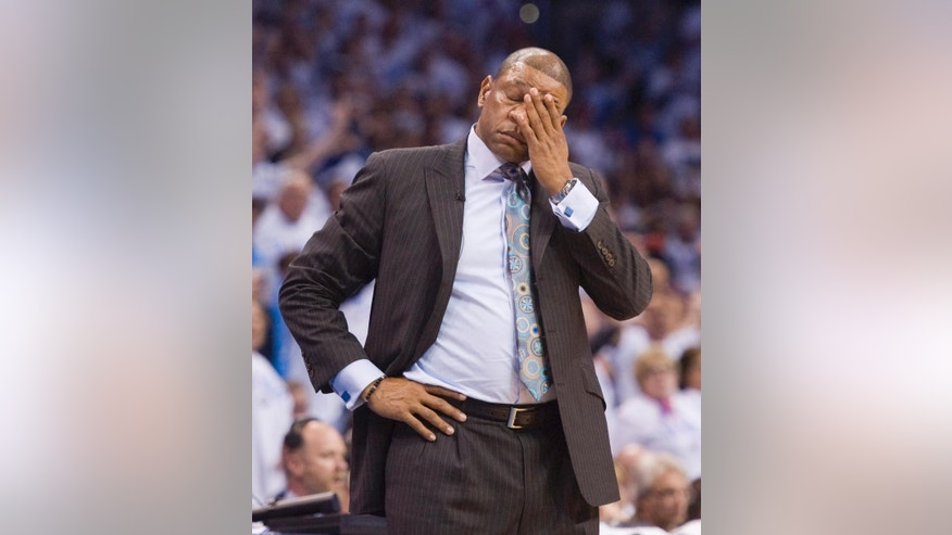 Los Angeles Clippers' head coach Doc Rivers can't believe the foul committed by the Clippers late in the first quarter during the first half in Game 5 of the NBA Western Conference semi-finals at the Chesapeake Arena in Oklahoma City on Tuesday, May 13, 2014. (AP Photo/The Orange County Register, Michael Goulding) ///ADDITIONAL INFO.01.clippers.0514.mg- 05/13/2014  - MICHAEL GOULDING, ORANGE COUNTY REGISTER -  Clippers v Thunder Game 5 Western Conference semi-finals