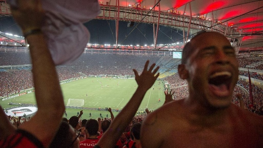 In this April 9, 2014 photo, a fan of Brazil's Flamengo soccer team celebrates his team's goal during a Copa Libertadores match in Maracana stadium in Rio de Janeiro, Brazil. Soccer's big moment happens in June as the best players on the planet meet in Brazil for the World Cup. Brazil is a five-time champion of the World Cup and is seeking a record sixth World Cup title, Brazil has won 13 of its last 14 games. (AP Photo/Leo Correa)