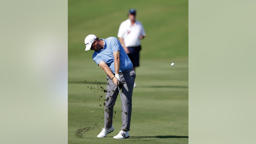 Peter Hanson of Sweden hits off of the 18th fairway during the opening round of the Byron Nelson Championship golf tournament, Thursday, May 15, 2014, in Irving, Texas. Hanson finished the round at 5-under par. (AP Photo/Tony Gutierrez)