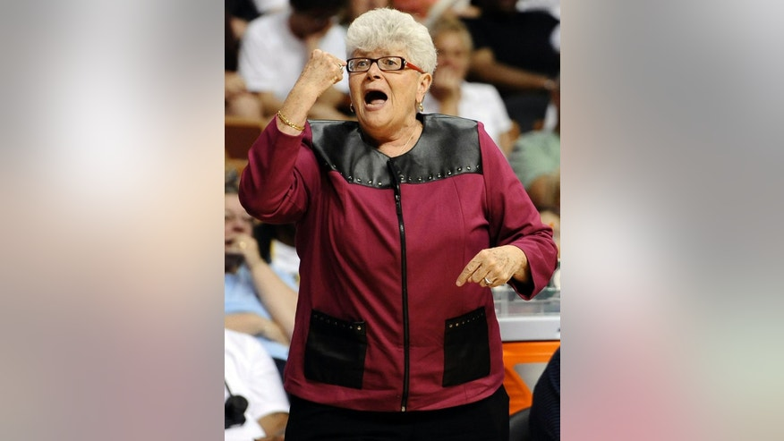 File-This July 27, 2013, file photo shows East coach Lin Dunn, of the Indiana Fever, gesturing during the first half of the WNBA All-Star basketball game in Uncasville, Conn. Dunn has high expectations for the Indiana Fever this season. The seventh year head coach believes Indiana can win another WNBA title before she retires at the end of the season. It all comes down to two things: Defense and rebounding. (AP Photo/Jessica Hill, File)