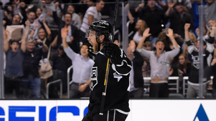 Los Angeles Kings center Trevor Lewis celebrates his gaol during the second period in Game 6 of an NHL hockey second-round Stanley Cup playoff series against the Anaheim Ducks, Wednesday, May 14, 2014, in Los Angeles. (AP Photo)