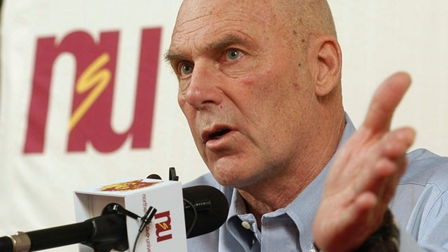 Feb. 27, 2010: In this file photo, Northern State coach Don Meyer addresses the media after an NCAA college basketball game in Aberdeen, S.D., where he announced he would be retiring. (AP)