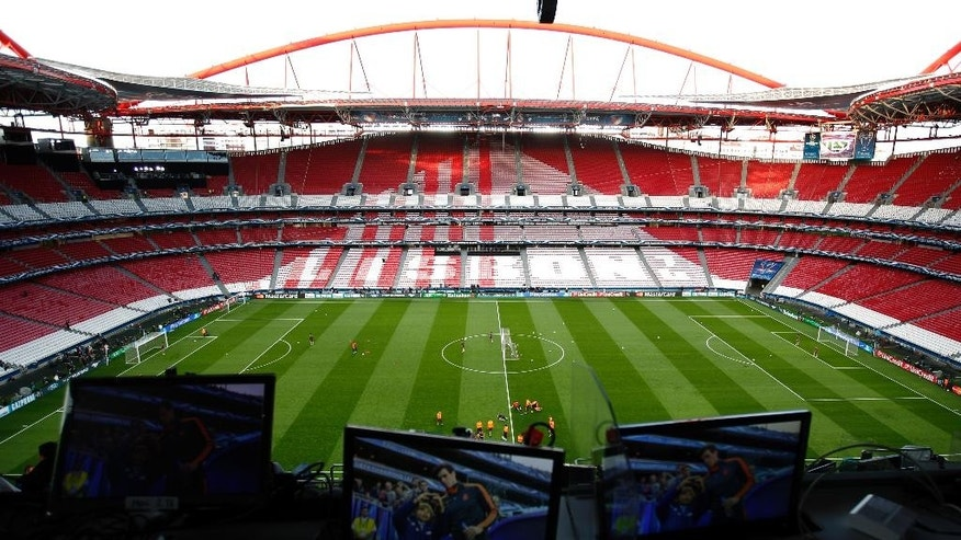 A view of the Luz stadium, during a training session ahead of Saturday's Champions League final soccer match between Real Madrid and Atletico Madrid, in Lisbon, Portugal, Friday, May 23, 2014. (AP Photo/Paulo Duarte)