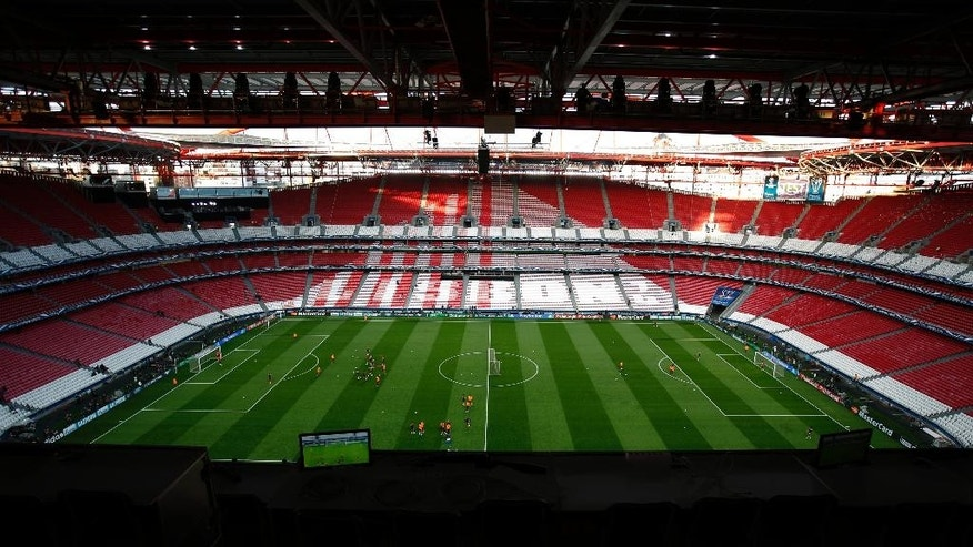 A view of the Luz stadium during a training session ahead of Saturday's Champions League final soccer match between Real Madrid and Atletico Madrid, in Lisbon, Portugal, Friday, May 23, 2014. (AP Photo/Paulo Duarte)