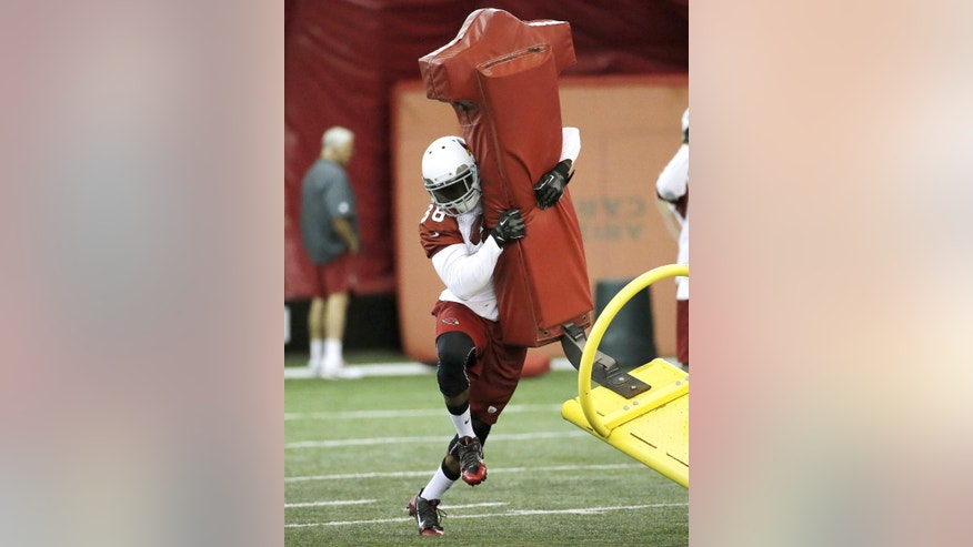 Arizona Cardinals first-round draft pick Deone Bucannon participates in team workouts during an NFL rookie football mini camp, Friday, May 23, 2014, in Tempe, Ariz. (AP Photo/Matt York)