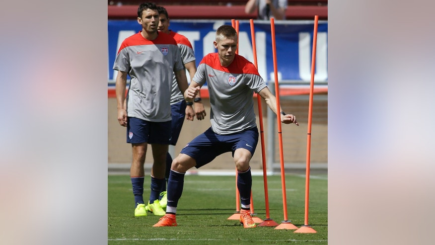 United States' Aron Johannsson performs drills during training in preparation for the World Cup soccer tournament, Thursday, May 22, 2014, in Stanford, Calif. (AP Photo/Ben Margot)