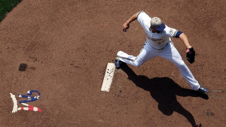 Milwaukee Brewers starting pitcher Kyle Lohse throws during the first inning of a baseball game against the Baltimore Orioles Monday, May 26, 2014, in Milwaukee. (AP Photo/Morry Gash)
