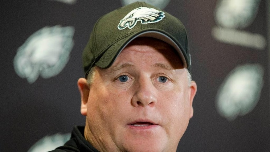 Philadelphia Eagles' head coach Chip Kelly speaks during a news conference before an NFL football organized team activity Thursday, May 29, 2014, in Philadelphia. (AP Photo/Matt Rourke)