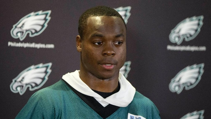 Philadelphia Eagles' Jeremy Maclin speaks with members of the media after an NFL football organized team activity Thursday, May 29, 2014, in Philadelphia. (AP Photo/Matt Rourke)