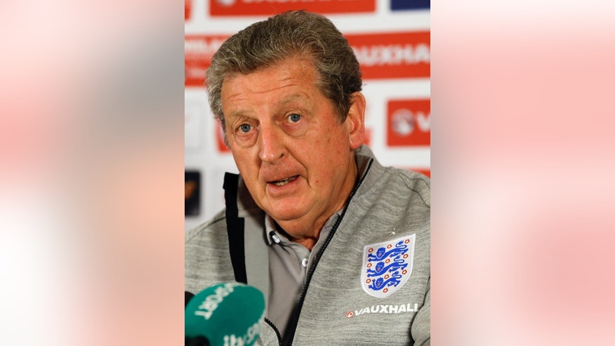 England's soccer team manager Roy Hodgson speaks at a press conference near Watford, England, Thursday, May 29, 2014. England will play Peru in an international friendly soccer match at Wembley Stadium on Friday. (AP Photo/Kirsty Wigglesworth)