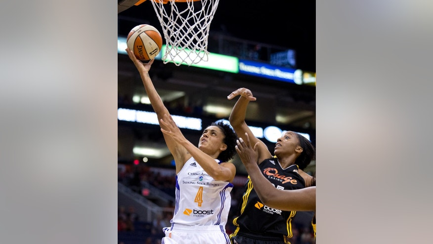 Phoenix Mercury's Candice Dupree (4) makes a layup against Tulsa Shocks' Glory Johnson during a WNBA basketball game in Phoenix, Ariz., Friday, May 30, 2014. (AP Photo/The Arizona Republic, Patrick Breen) MARICOPA COUNTY OUT; NO SALES