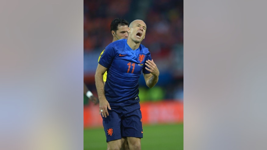 Netherlands Arjen Robben reacts during the international friendly soccer match between The Netherlands and Ghana, at De Kuip stadium in Rotterdam, Netherlands, Saturday, May 31, 2014. (AP Photo/Ermindo Armino)