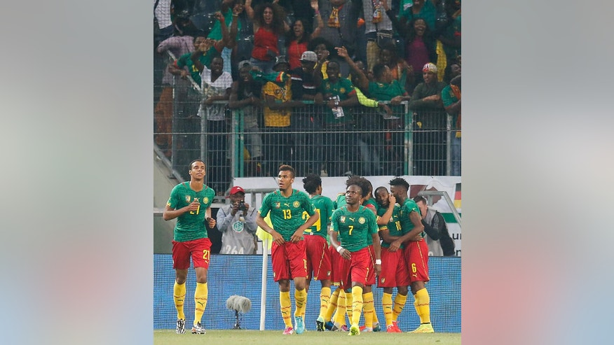 Cameroon's teammates celebrate scoring during a friendly WCup preparation soccer match between Germany and Cameroon in Moenchengladbach, Germany, Sunday, June 1, 2014. (AP Photo/Frank Augstein)