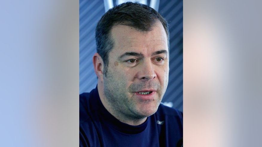 New York Rangers head coach Alain Vigneault answers questions for members of the media after a practice session, Monday, June 2, 2014, in Greenburgh, N.Y. The Rangers will face the Los Angeles Kings in Game 1 of the Stanley Cup Final in Los Angeles on Wednesday. (AP Photo/Julie Jacobson)