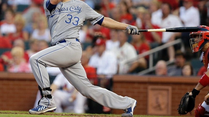 Kansas City Royals' James Shields follows through on an RBI double during the fifth inning of a baseball game against the St. Louis Cardinals Tuesday, June 3, 2014, in St. Louis. (AP Photo/Jeff Roberson)