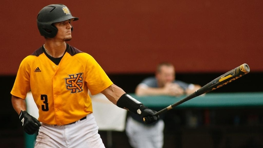Kennesaw State's Max Pentecost (3) gets ready to bat in the eighth inning of an NCAA college baseball tournament regional game against Alabama on Friday, May 30, 2014, in Tallahassee, Fla. Kennesaw State won 1-0. (AP Photo/Phil Sears)