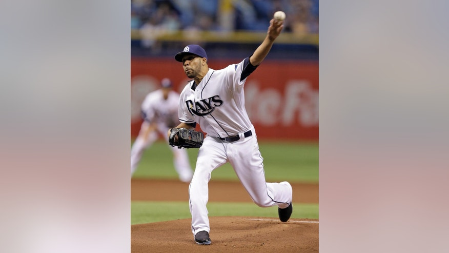 Tampa Bay Rays starting pitcher David Price delivers to the Miami Marlins during the first inning of an interleague baseball game Wednesday, June 4, 2014, in St. Petersburg, Fla. (AP Photo/Chris O'Meara)