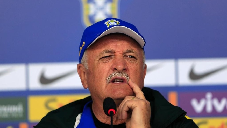 Brazil's coach Luiz Felipe Scolari answers questions during a press conference at the Granja Comary training center in Teresopolis, Brazil, Thursday, June 5, 2014. Brazil will face Croatia at the opening match of the World Cup soccer tournament on June 12. (AP Photo/Hassan Ammar)