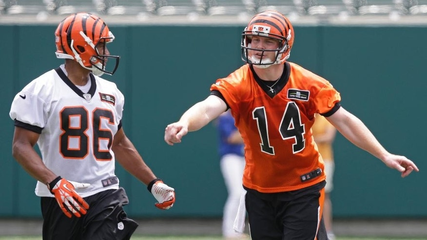 Cincinnati Bengals quarterback Andy Dalton (14) positions  wide receiver James Wright (86) during an NFL football mandatory minicamp, Tuesday, June 10, 2014, in Cincinnati. (AP Photo/Al Behrman)