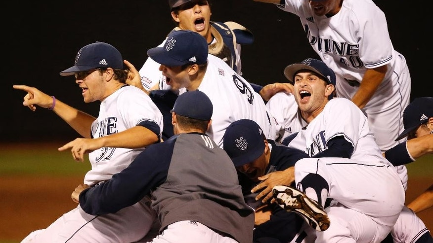 UC Irvine players celebrate following an NCAA college baseball tournament super regional game against Oklahoma State in Stillwater, Okla., Saturday, June 7, 2014. UC Irvine won 1-0 to move on to the College World Series in Omaha. (AP Photo/Sue Ogrocki)