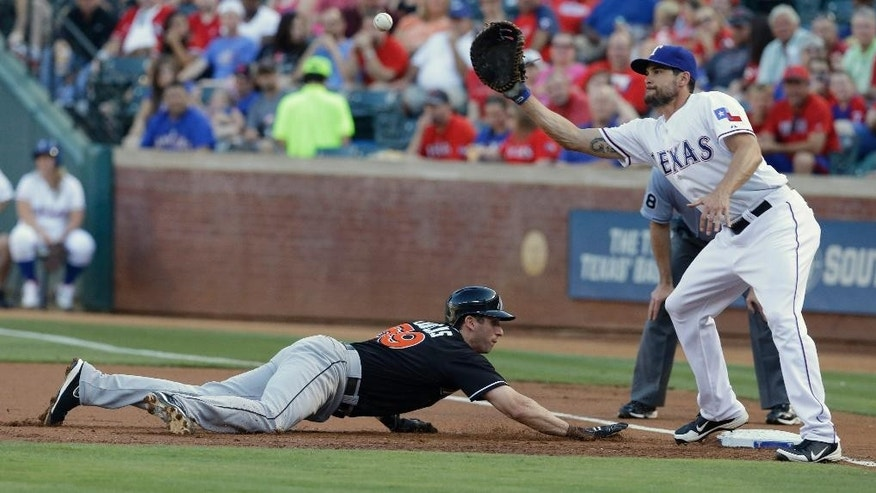 Miami Marlins Ed Lucas (59) dives back to base beating the pick off against Texas Rangers first baseman Brad Snyder during the first inning of a baseball game in Arlington, Texas, Tuesday, June 10, 2014. (AP Photo/LM Otero)