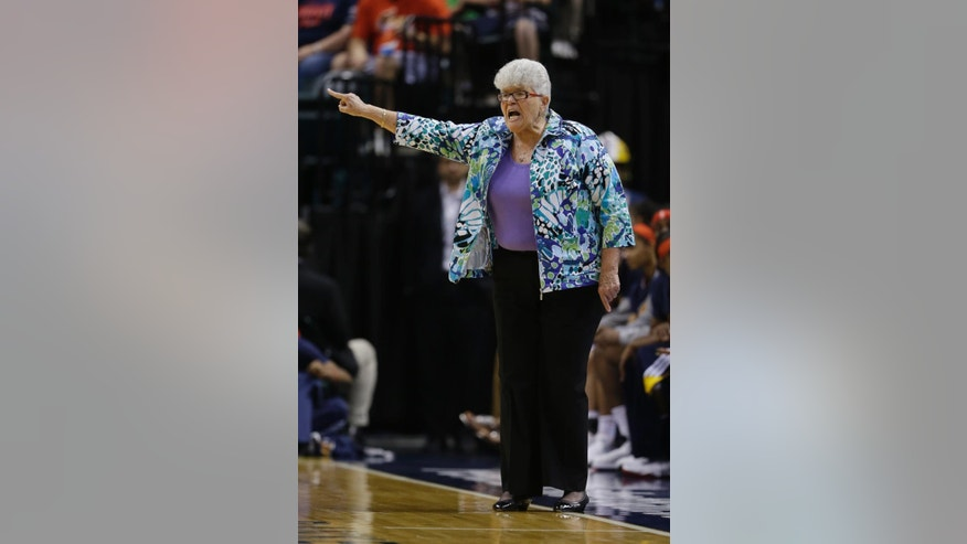 Indiana Fever head coach Lin Dunn shouts instructions during the second half of a WNBA basketball game against the Seattle Storm, Wednesday, June 11, 2014, in Indianapolis. Indiana defeated Seattle 76-68. (AP Photo/Darron Cummings)