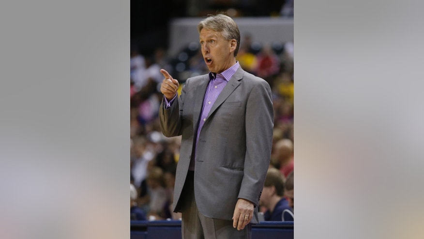 Seattle Storm head coach Brian Agler talks to his team during the second half of a WNBA basketball game against the Indiana Fever, Wednesday, June 11, 2014, in Indianapolis. Indiana defeated Seattle 76-68. (AP Photo/Darron Cummings)
