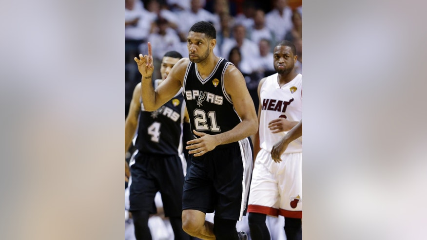 San Antonio Spurs forward Tim Duncan (21) gestures during the first half in Game 3 of the NBA basketball finals against the Miami Heat, Tuesday, June 10, 2014, in Miami. (AP Photo/Wilfredo Lee)