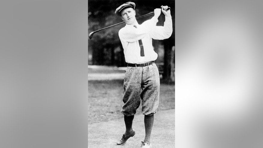 FILE - This April 9, 1934, file photo, shows golfer Jerome Travers. Travers was a leading amateur in the early 20th century, winning the U.S. Amateur four times, including back to back in 1912 and 1913. (AP Photo/File)