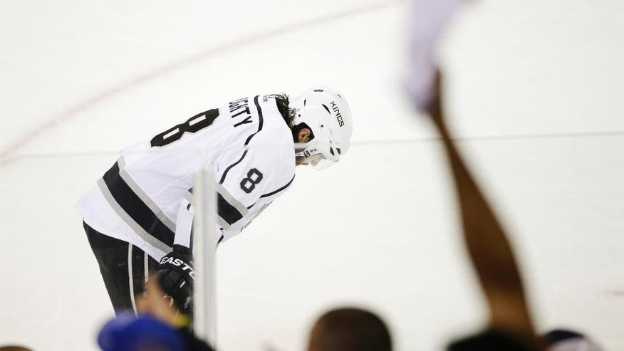 Los Angeles Kings defenseman Drew Doughty (8) reacts after the Kings lost 2-1 to the New York Rangers in Game 4 of the NHL hockey Stanley Cup Final, Wednesday, June 11, 2014, in New York. (AP Photo/Frank Franklin II)