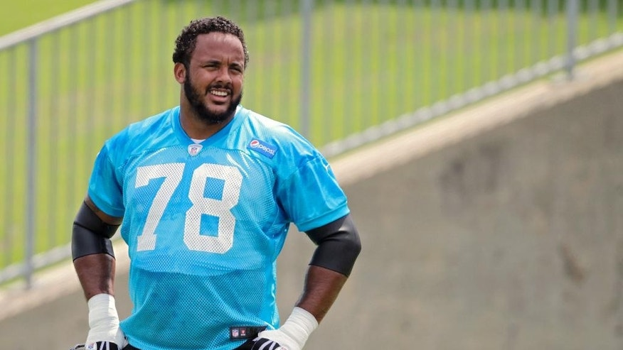 Carolina Panthers' Nate Chandler (78) waits for blocking drills to restart during an NFL football organized team activity in Charlotte, N.C., Wednesday, June 11, 2014. (AP Photo/Bob Leverone)
