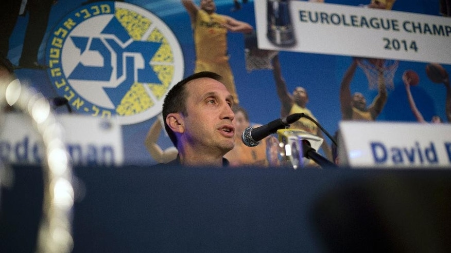 "Maccabi Tel Aviv's head coach David Blatt speaks in a news conference in Tel Aviv, Israel,Thursday, June 12, 2014. David Blatt has stepped down as coach of European club champion Maccabi Tel Aviv to pursue a job in the NBA. Blatt told a news conference on Thursday he wanted to fulfil his ""dream"" of coaching in the NBA. He says he is weighing offers from unnamed teams. The Cleveland Cavaliers, Minnesota Timberwolves and Golden State Warriors are all believed to be interested. Blatt, who grew up near Boston and played college ball at Princeton, has had a successful career coaching overseas. Last month, he led Maccabi to an upset win over Real Madrid in the European basketball championship. At a championship celebration, Prime Minister Benjamin Netanyahu playfully told Blatt not to leave. (AP Photo/Ariel Schalit)"