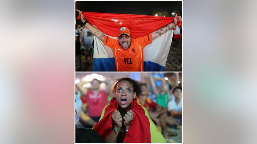 In this combination of Associated Press photos a Dutch soccer fan, top, celebrates and a Spanish soccer fan, bottom, reacts in frustration as they watche the live broadcast of the World Cup match between Spain and the Netherlands inside the FIFA Fan Fest area on Copacabana beach in Rio de Janeiro, Brazil, Friday, June 13, 2014. The Netherlands defeated Spain 5-1. (AP Photo/Leo Correa)
