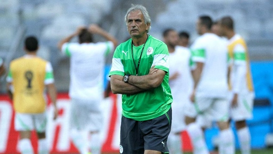 Algeria head coach Vahid Halilhodzic attends a training session at the Mineirao Stadium in Belo Horizonte, Brazil, Monday, June 16, 2014. Algeria will play in group H of the Brazil 2014 soccer World Cup. (AP Photo/Bruno Magalhaes)