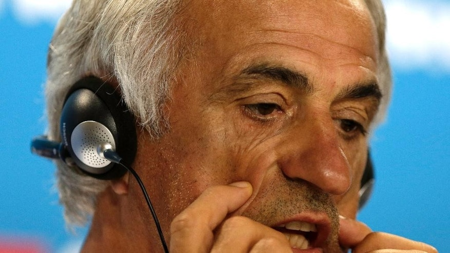 Algeria's head coach Vahid Halilhodzic listens to questions from the media, during a press conference the day before the group H World Cup soccer match between Belgium and Algeria, at the Mineirao Stadium in Belo Horizonte, Brazil, Monday, June 16, 2014. (AP Photo/Bruno Magalhaes)