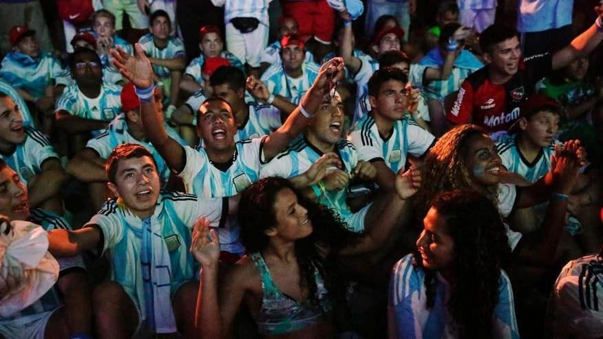 Argentina soccer fans cheer midway through the second half of their team's World Cup match with Bosnia as they watch the game on a screen inside the FIFA Fan Fest area on Copacabana beach in Rio de Janeiro, Brazil, Sunday, June 15, 2014. (AP Photo/Matt Dunham)