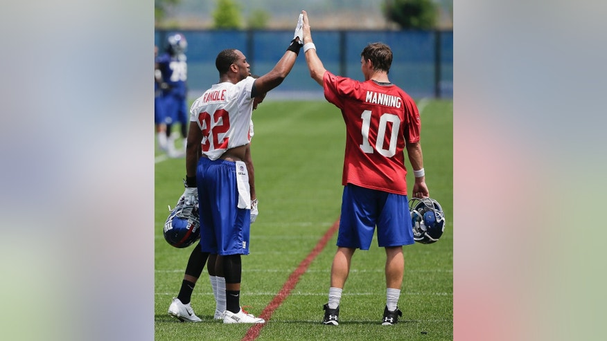 New York Giants wide receiver Rueben Randle (82) high-fives quarterback Eli Manning (10) between drills on the first day of NFL football minicamp, Tuesday, June 17, 2014, in East Rutherford, N.J. (AP Photo/Julie Jacobson)