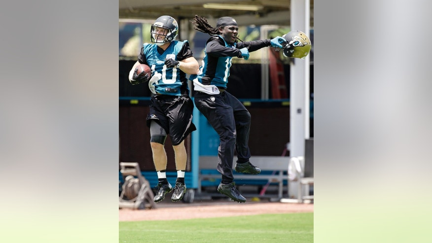 Jacksonville Jaguars running backs Beau Blankenship, left, and Denard Robinson, right, celebrate a play against the defensive unit during NFL football minicamp in Jacksonville, Fla., Tuesday, June 17, 2014. (AP Photo/John Raoux)