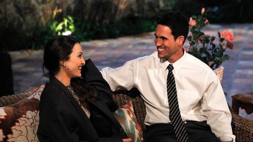 "In this image released by American Broadcasting Companies, Inc., Josh Murray, right, talks with bachelorette Andi Dorman during filming for ABC's popular romance reality series, ""The Bachelorette,"" in Agoura Hills, Calif. Murray, a former minor league baseball player, is the brother of Kansas City Chiefs quarterback Aaron Murray. (AP Photo/ABC, Rick Rowell) ANDI DORFMAN, JOSH M."