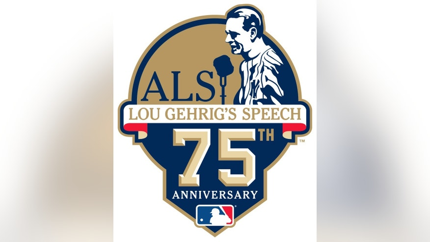 "This image release by Major League Baseball on Thursday, June 19, 2014, shows a patch that baseball clubs will wear as a special tribute to Hall of Famer Lou Gehrig on the 75th Anniversary of his iconic ""Luckiest Man"" speech. The league will conduct special on-field ceremonies to commemorate the anniversary of the speech and honor the legacy of Gehrig on July 4, 2014, who passed away on June 2, 1941 at the age of 37.  (AP Photo/MLB)"