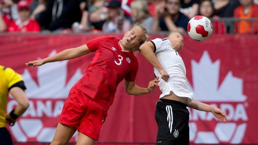 Canada's Rebecca Quinn, left, and Germany's Alexandra Popp vie for the ball during the first half of an international women's soccer game in Vancouver, B.C., on Wednesday June 18, 2014. THE CANADIAN PRESS/Darryl Dyck