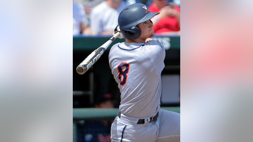 Virginia's Robbie Coman (8) follows through with a two-run single against Mississippi in the fourth inning of an NCAA College World Series baseball game in Omaha, Neb., Saturday, June 21, 2014. (AP Photo/Ted Kirk)