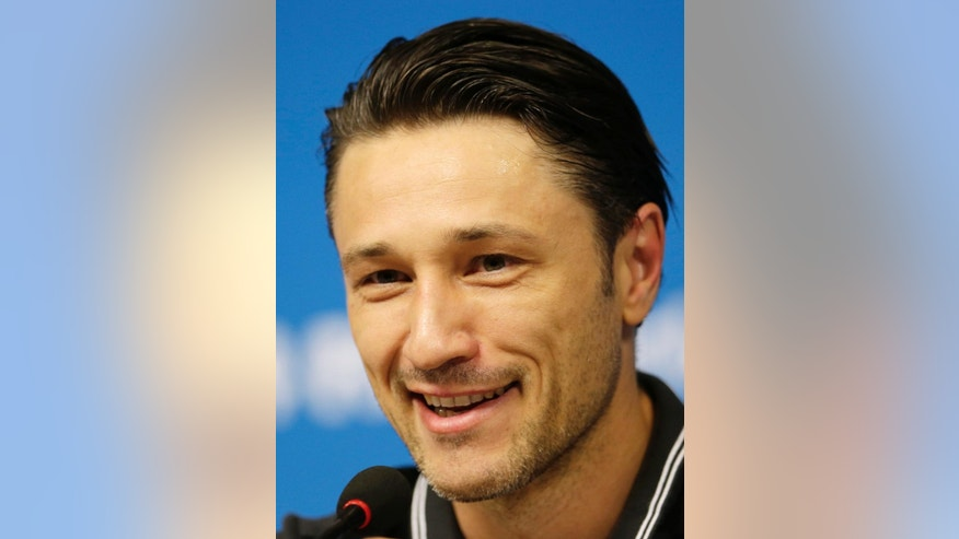 Head coach of Croatia Niko Kovac smiles during a press conference after a training session at the Arena Pernambuco in Recife, Brazil, Sunday, June 22, 2014. Croatia will play Mexico in group A of the 2014 soccer World Cup. (AP Photo/Petr David Josek)