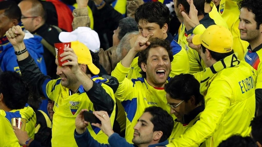 Ecuador fans celebrate their team winning 2-1 after the group E World Cup soccer match between Honduras and Ecuador at the Arena da Baixada in Curitiba, Brazil, Friday, June 20, 2014. (AP Photo/Andrew Medichini)